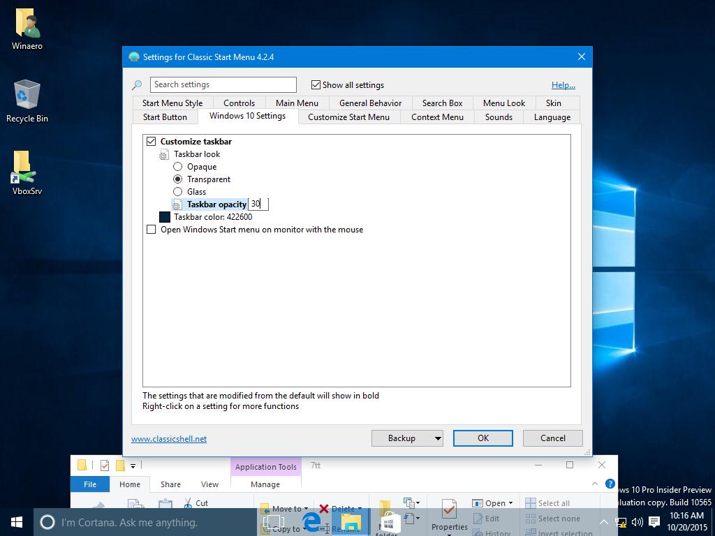 Get a Completely Transparent Taskbar in Windows 10