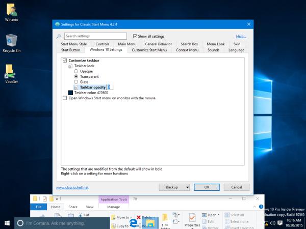 Windows 10 taskbar transparent