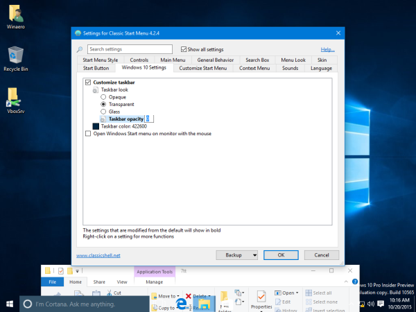 Windows 10 barra de tareas transparente