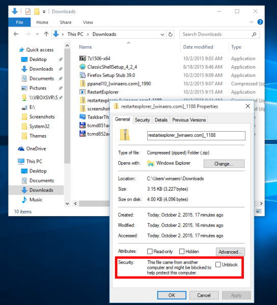 Windows 10 unblock a file