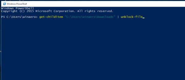 Windows 10 unblock all files in a folder