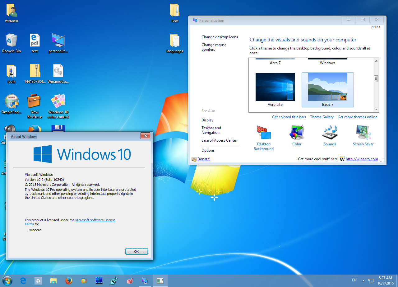 Windows 10 theme for windows 7.