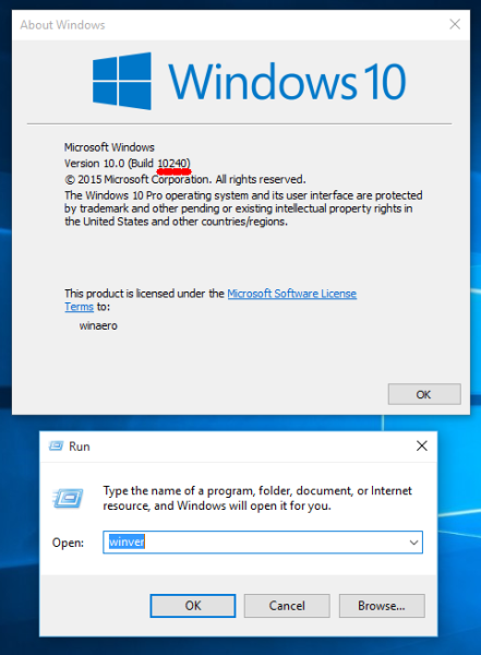 find windows 10 build number in winver