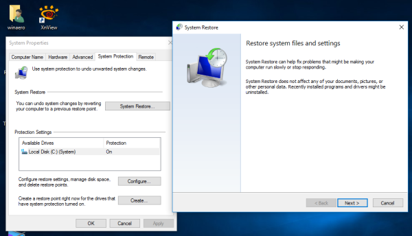 run system restore Windows 10