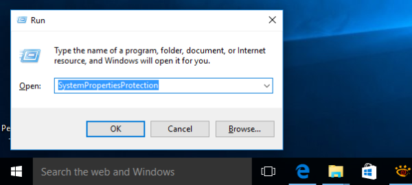 system properties protection on Windows 10