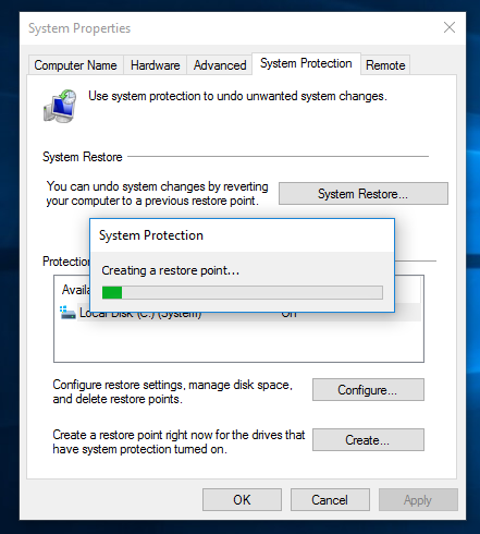 system protection create new point 02 Windows 10