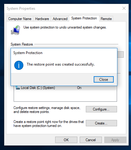 system protection create new point 03 Windows 10