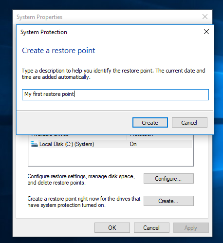 system protection create new point Windows 10