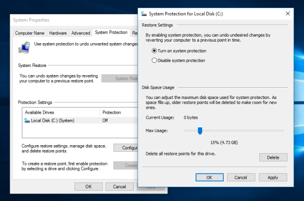 system protection slider Windows 10