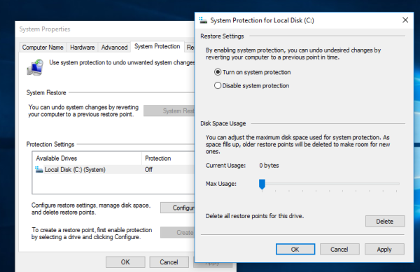 system protection turn on Windows 10