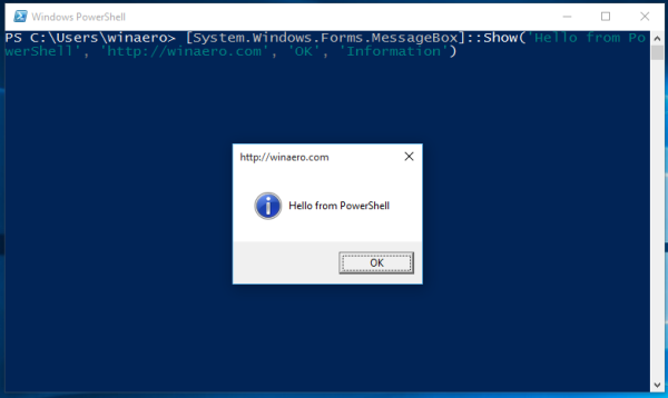 windows 10 hello from powershell
