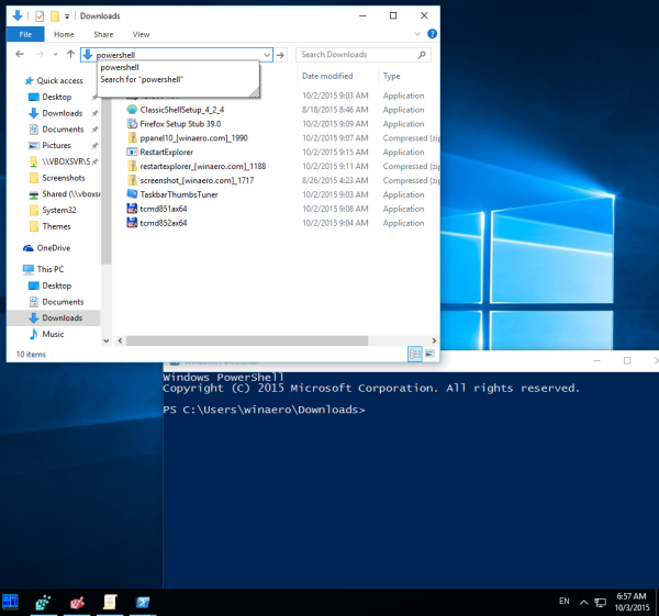 windows 10 run powershell from explorer
