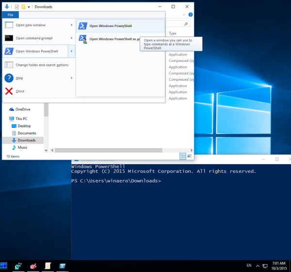 windows 10 run powershell from ribbon