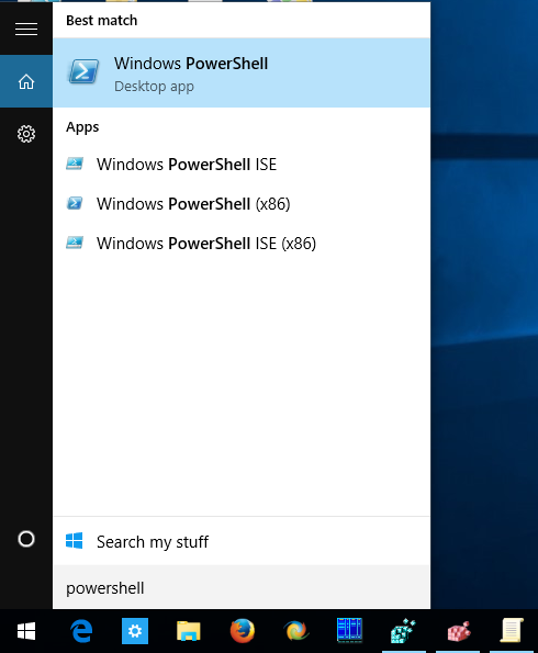 windows 10 run powershell from search