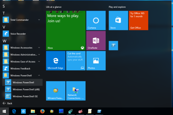 windows 10 run powershell from start menu