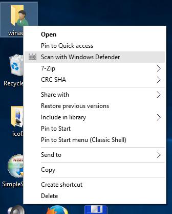 windows 10 scan with defender context menu