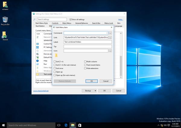 Classic Shell Start menu combined folders
