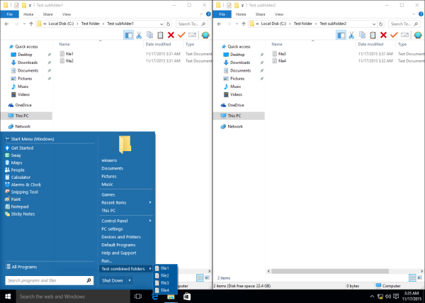 Classic Shell Start menu combined folders in action