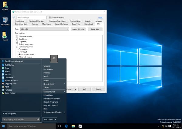 Classic Shell Start menu transparency 2