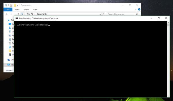 File Explorer elevated command prompt current folder