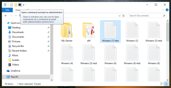 File Explorer elevated command prompt quick access 2