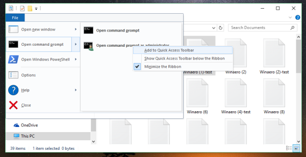 File Explorer elevated command prompt quick access