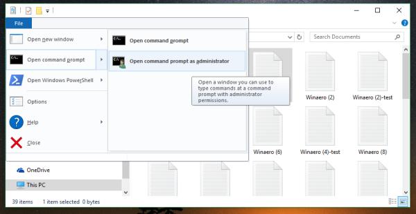 File Explorer open command prompt current folder