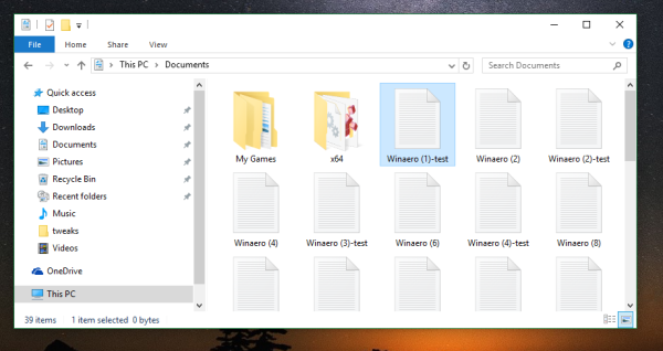 File Explorer opened folder
