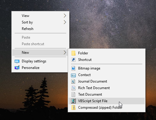 Windows 10 add vbs file to new menu