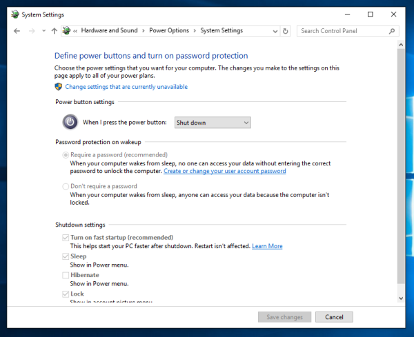 Windows 10 change what power button does