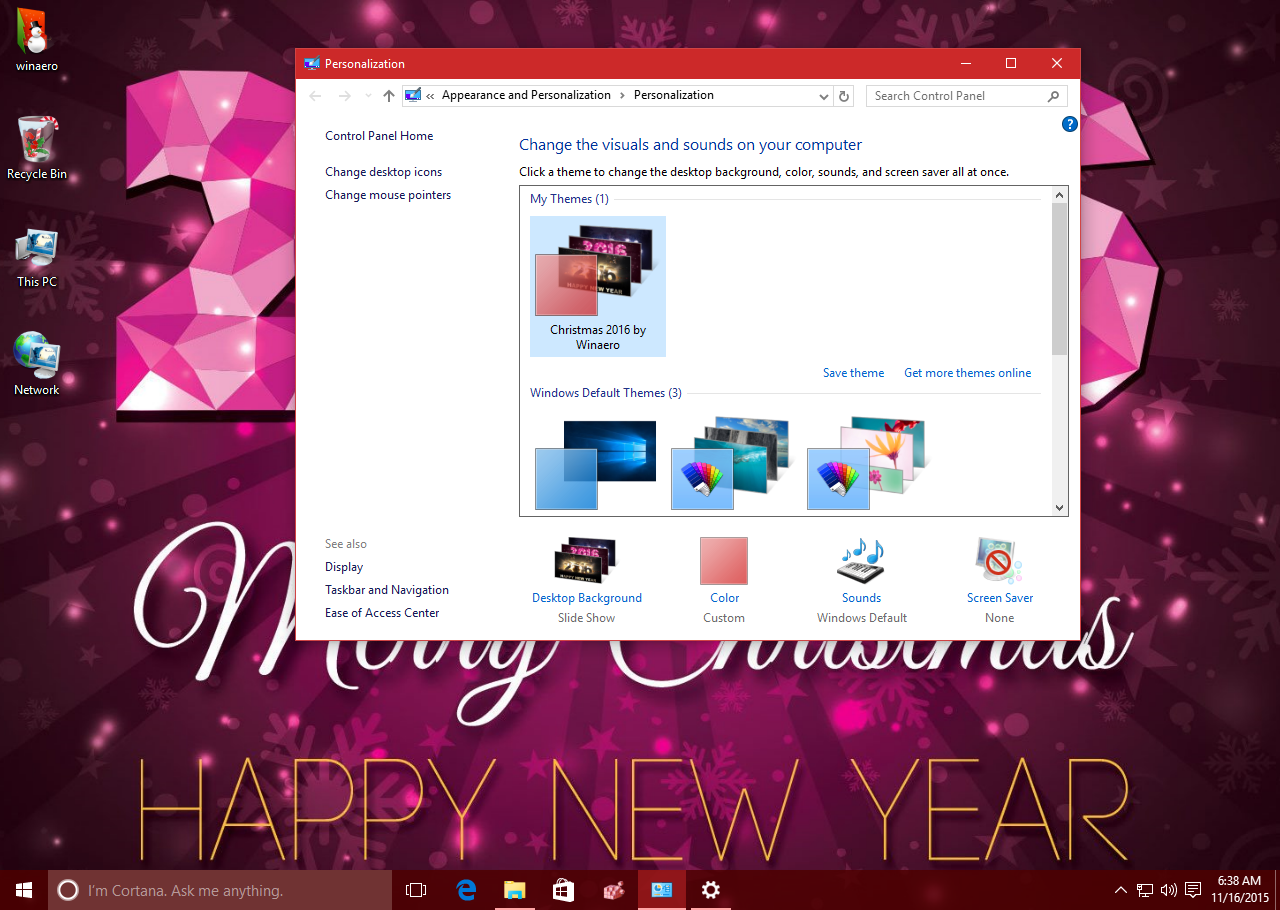 How to create your own windows 10 christmas theme?
