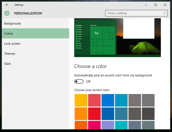 Windows 10 disable auto color