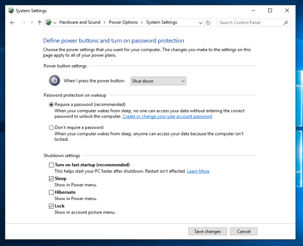 Windows 10 disable fast startup
