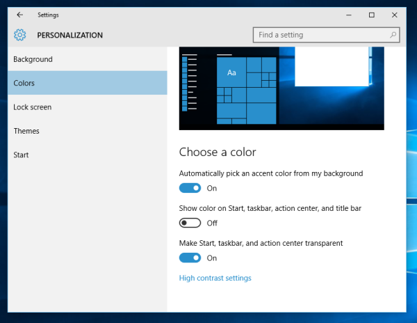 Windows 10 disable show color
