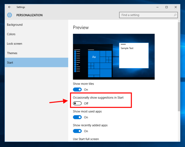 Windows 10 disable start menu suggestions