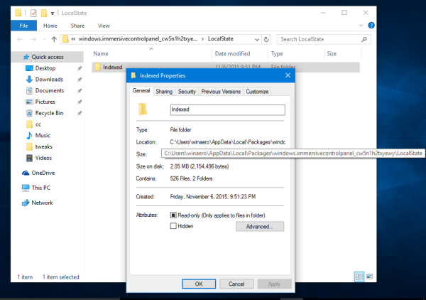 Windows 10 indexed folder properties