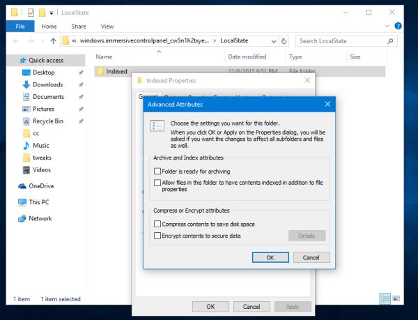 Windows 10 indexed folder properties advanced