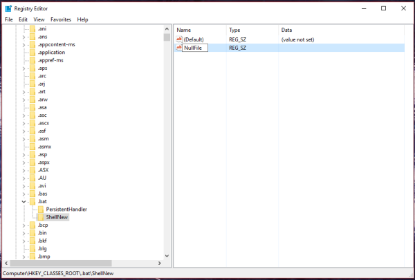 Windows 10 nullfile for bat file
