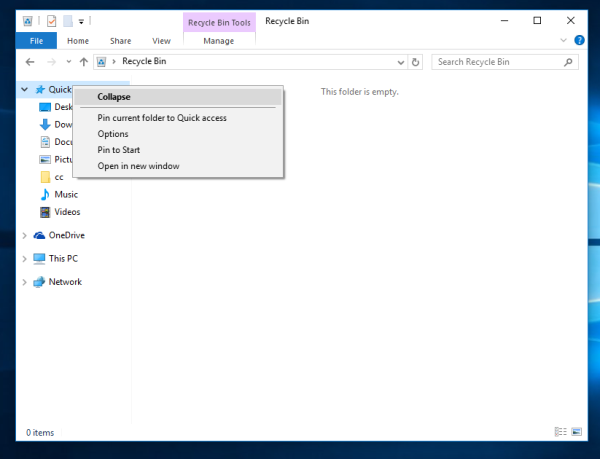 How to pin Recycle Bin to Quick Access in Windows 10