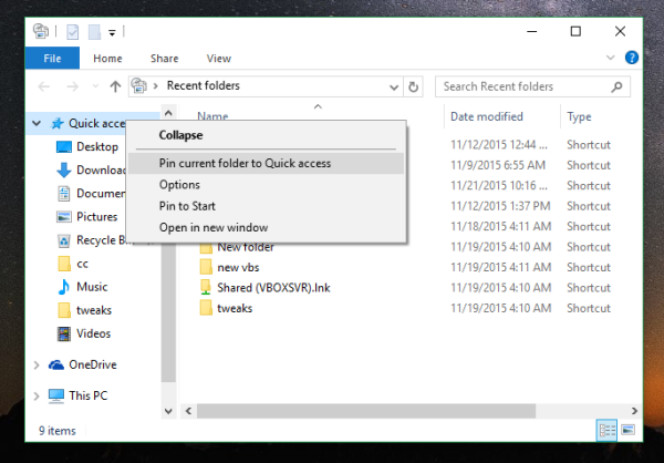 Windows 10 recent places add to the left pane