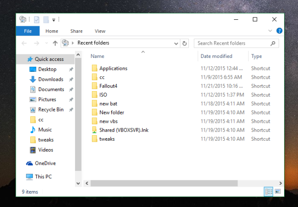 Windows 10 run open recent places 2