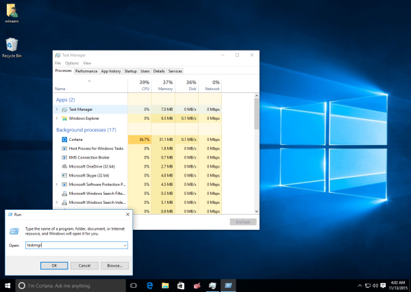 Windows 10 run task manager