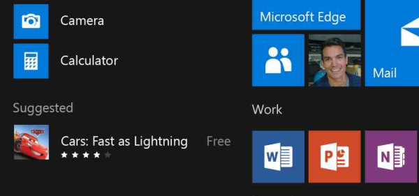 Windows 10 start menu suggestions