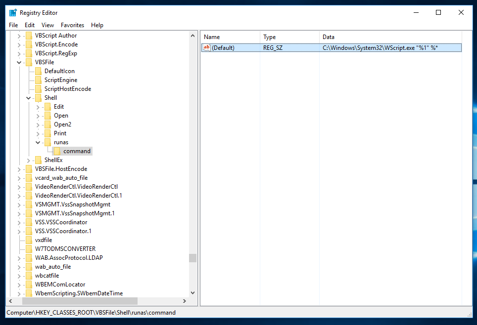 Add Run as administrator context menu item to VBS files