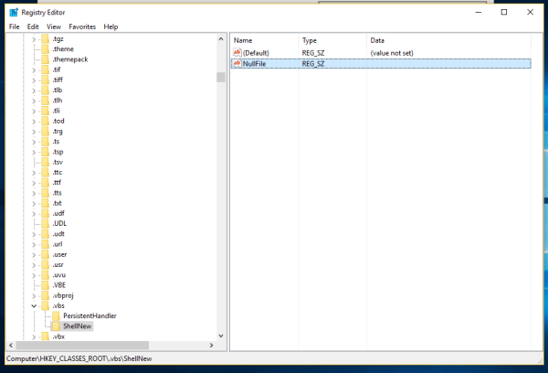 Windows 10 vbs nullfile