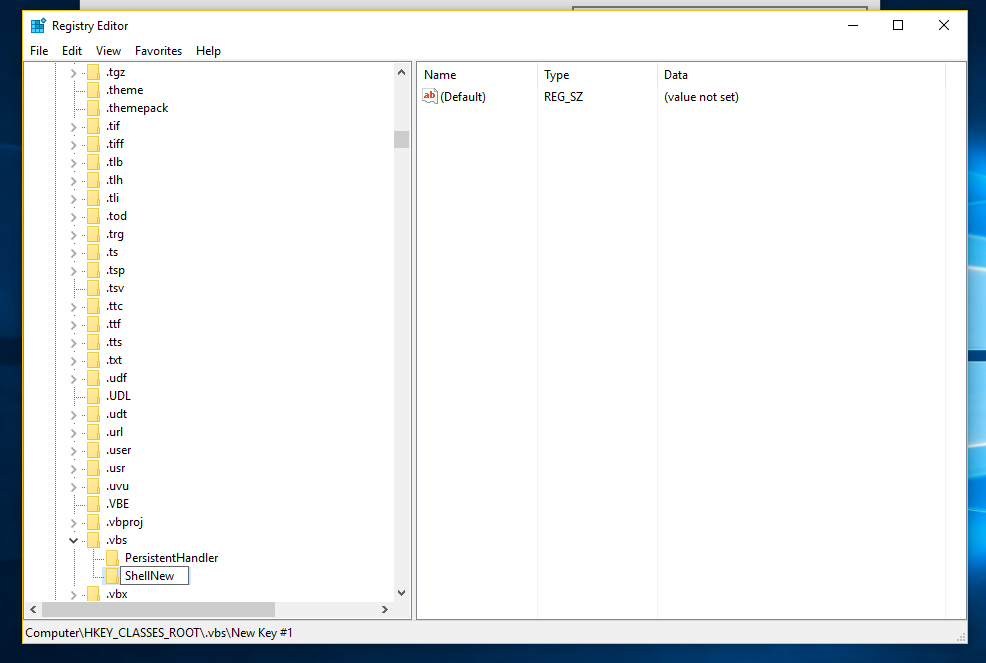 Add VBScript file (* vbs) to New menu of File Explorer