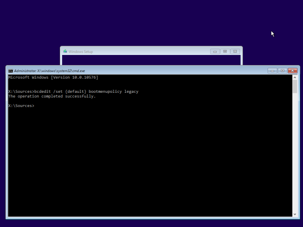 Windows Setup boot menu policy