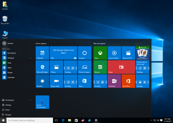 windows 10 after enable more tiles in the start menu