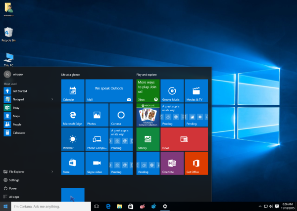 windows 10 before enable more tiles in the start menu