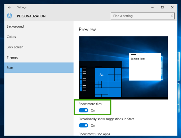 windows 10 enable more tiles in the start menu